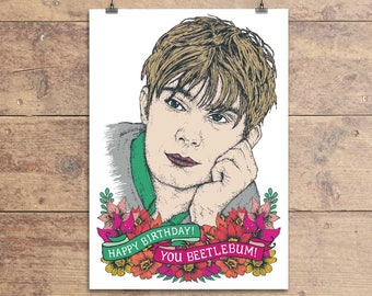 Damon Albarn Greeting Card - Blur Lyric Birthday Greeting Card - Beetlebum Happy Birthday Card