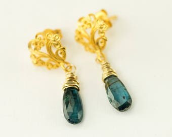 Royal Blue Kyanite Earrings - Filigree 24k Gold Post Dangles - Natural Kyanite Needle Earrings