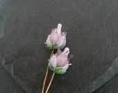 2 lilac rose headpins  Handmade lampwork glass   earring pair.
