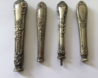 4 Antique Art Nouveau Silver Plated Cutlery Handles, Upcycling/ Craft Supplies