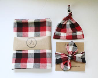 Buffalo Plaid Baby Swaddle Blanket, Black, Red and White Check, Swaddle Set,  Shower Gift, Christmas Gift, Baby Coming Home Set