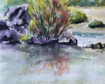 """Cottonwoods by the River - original watercolor painting 9"""" x 12"""""""