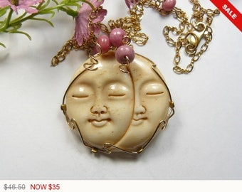 """Carved Bone, Double Sun and Moon Face necklace, wire wrapped with 14k gold fill wire, 20 """" handmade chain. (W10362)"""
