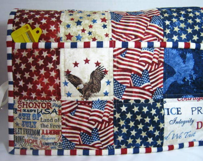 Patriotic Reversible Quilted Sewing Machine Protector Dust Cover