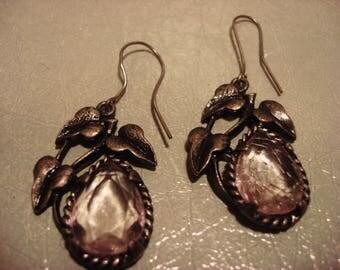 Boho 1990s Vintage Lilac Pastel Gypsy Flower Drop Earrings