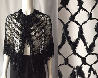 Victorian ragged ribbon shawl with french jet beads