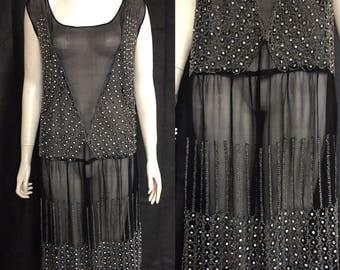 1920s dismanté studded beaded flapper dress