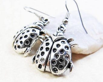 40% OFF Dangle Drop Earrings - Silver Pewter Metal Domed Lady Bug Charms - Surgical Steel Ear Hooks - (H-109)