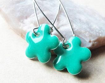 40% OFF Dangle Drop Earrings - Teal Green Epoxy Enamel Flowers - Sterling Silver Plated over Brass (F-2)