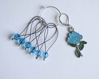 Baby Blue Rose Progress Keeper with Blue Beaded Stitch Markers Set Knitting Notions Gifts for Knitters
