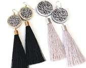LUXE Black or Grey Tassel ART Statement Earrings - silk tassel - Next Romance Jewels Melbourne Australia boho bridesmaid gift silver gold