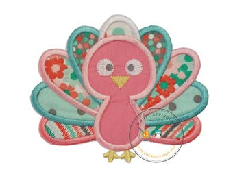 Charming pastel baby turkey embroidered fabric iron on applique - Thanksgiving turkey iron on applique for girls or baby - Ready to ship