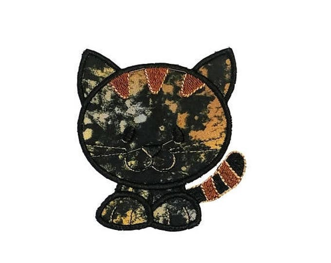Calico cat fabric iron on applique- Kitten no sew embroidered patch