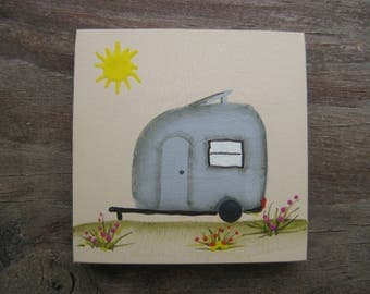 2x2 Miniature Travel Trailer Painting