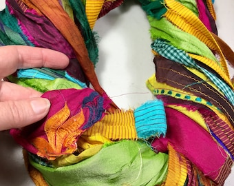 Printed Recycled Sari Silk Ribbon 311 Multi Colored Jewelry Tassel Dreamcatcher Supply Sari Wrap Bracelet Fair Trade Weave Fiber Art Supply