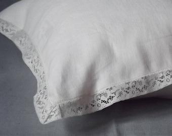 White Pillowcase. Linen Pillow Case. Laced pillowcase. White Lace Around. Handmade pillowcase.Strandard Queen King.