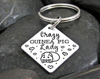 Crazy Guinea Pig Lady - Guinea Pig Keychain - I Love Guinea Pigs - Guinea Pig Lover - Popcorn - Key Ring - Zipper Pull - Small Animal