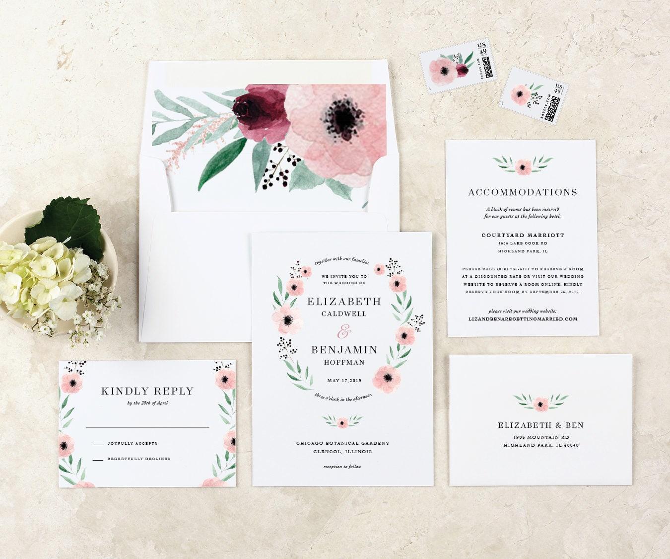 Bohemian Wedding Invitation Watercolor Wedding Invitations Floral ...