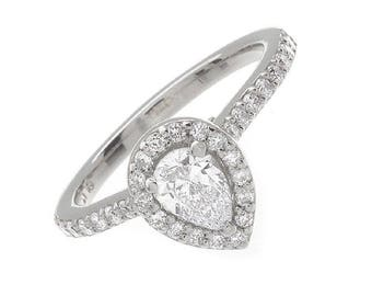 1.52ct Natural Pear Halo Pave Diamond Engagement Ring - GIA Certified