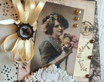 Happy Birthday ~~~. Wonderful Vintage Style Ladies Birthday Greeting~~~