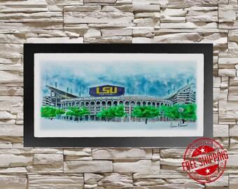 lsu football Art Print 10x20 University of Louisiana State University  LSU graduation gift lsu Christmas gift