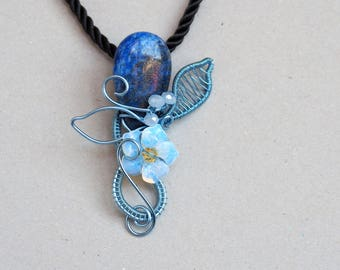 Lapis Lazuli wire wrapped gem pendant Opalite Light Blue gemstone necklace Flower Leafs Nature jewelry Birthday Anniversary gift for her