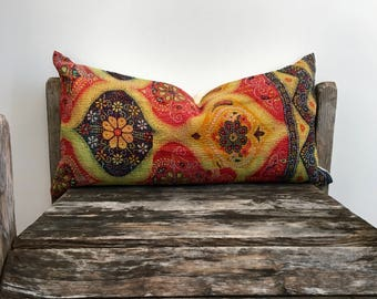 "Indian print Throw Pillow-kantha print pillow -lumber pillow 22""x11""-Indian fabric-indian double side textile-running stitch kantha fabric"