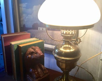 Vintage Brass and Milk Glass Lamp