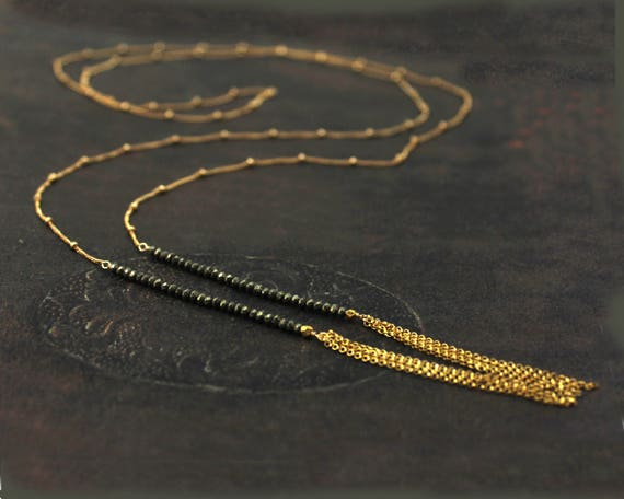 Long Tassel Lariat. Choker & Wrap Necklace. 14k Gold Fill or Sterling Silver. Pyrite Bar Necklace. Choice of Gemstones.