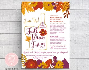 Wine Tasting Invitation, Fall Wine Tasting, Fall moms night out, Church Event Invitation - Lovely Little Party
