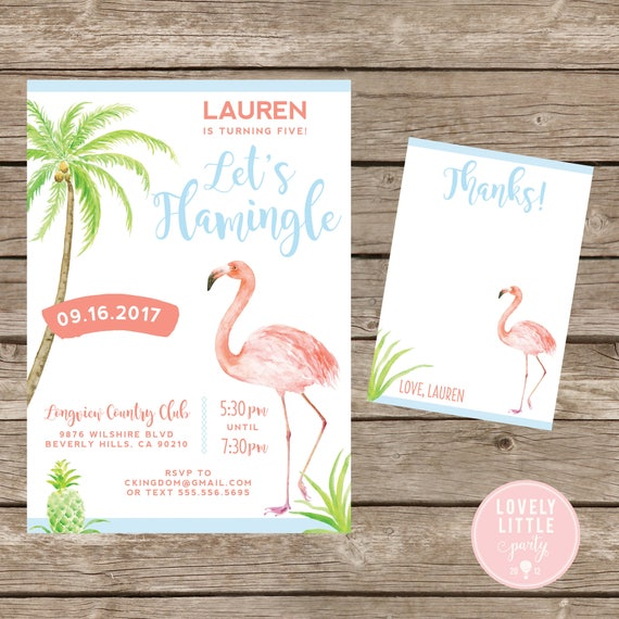 Let's Flamingle Party invitation, Flamingo theme Invitation Kit  - Invite AND Thank You Card included -Printable or Printed Option