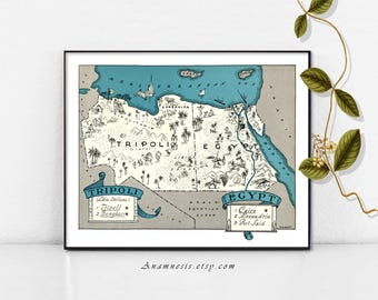 Map of EGYPT and TRIPOLI - Instant Download - printable vintage picture map for framing, totes, t-shirts, mugs, cards - retro map art