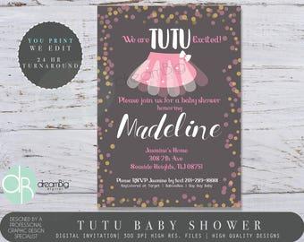 Tutu Baby Shower Invitations, Tutu Cute, Tutu Excited Invite, Printable Tutu Invitations, It's A Girl Invitations, Girls Baby Shower Invites