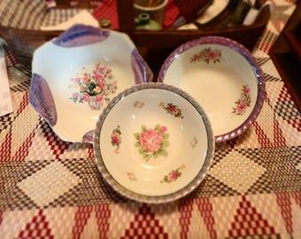 Vintage Flowered Vegetable Bowls Three Total
