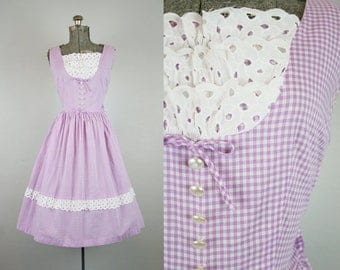 1950's Purple Gingham and Eyelet Sun Dress / Size Medium