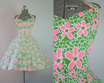1960's Daisy Halter Jonathan Logan Sun Dress / Size Small