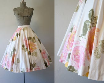 1950's Pink Watercolor Roses Circle Skirt / Size Small