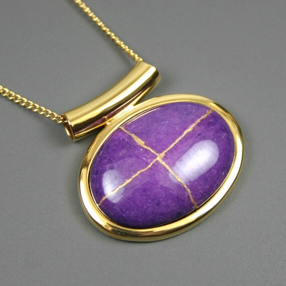 Kintsugi (kintsukuroi) purple dolomite stone cabochon with gold repair in a gold plated setting on gold chain - OOAK