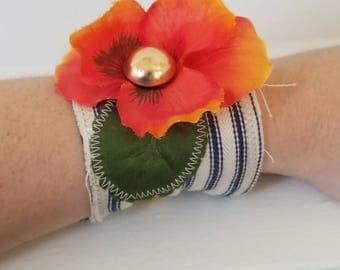 Boho Fabric Flower Cuff
