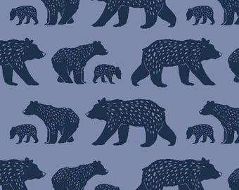 Bear Fabric//Monaluna Organic Cotton Fabric//Bear Family Poplin//Simple Life Collection