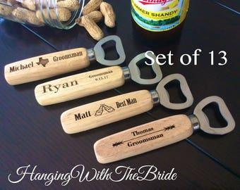 Set of 13 Personalized Bottle Opener, Groomsmen Gift, Wedding Gift, Engraved Wood opener, Custom Bottle Opener, Christmas gifts