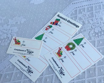 CIJ Vintage Figi's Gifts Christmas Tags / Paper Holiday Gift Labels