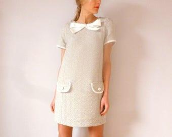 Robe en tweed écru esprit années 60 EMMA