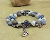 Kyanite and Moonstone Necklace OR Wrap Bracelet with Labradorite and Pyrite Reiki Jewelry - Meditation Calm Balance - Upper Chakras OM Charm
