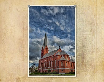 Church Photo | Americana Print | Oregon Photo | The Dalles | Oregon History Print | Old St Peters Landmark | Religious Print