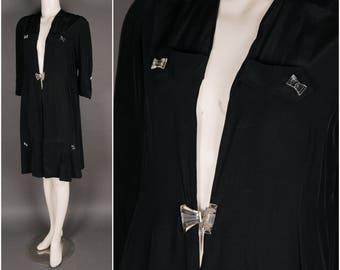 20s 30s rayon coat taffeta black glass bow tie buttons 1920 1930 S M L