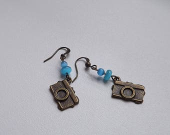 Handmade bronze earrings - Photo camera earrings - Photographer earrings - Bronze jewelry