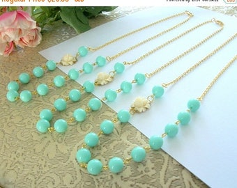 SUMMER SALE Bridesmaid Necklace Set Flower and Bead Necklace Off White Flower Necklace Sea Foam Green Flower Bead Minimalist Gold Colored Ne