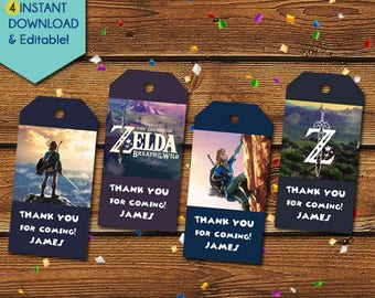 Legend of Zelda Thank You Tags, Legend of Zelda Party Favors, Legend of Zelda Favor Tags, Legend of Zelda Birthday Tag, Zelda Party Tags