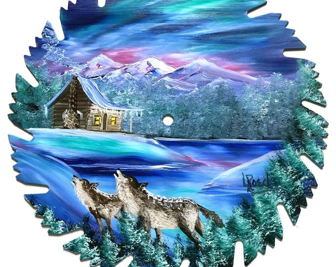 Hand Painted Saw Blade Mountain Cabin Northern Lights WOLVES